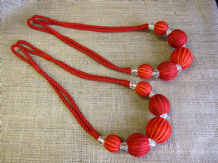 2 red abacus curtain tiebacks. Ball & crystal tie backs 80cm long